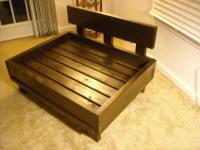 Never used, handcrafted wooden dog bed. Dark walnut in