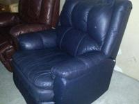 Blue leather recliner chairs, in attractive condition