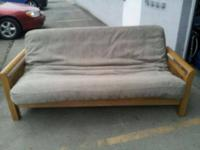 Fullsize wood frame futon ,comfortable, no rip or stain