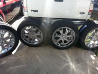 "For sale new set of Crome rims 22"" with new tires size"