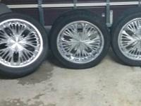22 x 9 inch ferretti rims with tires and all hub caps 2