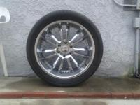 305 / 40 / 22 with chrome kmc rims must sell fits most