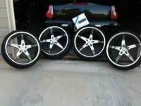 22x8.5 Strada rims with tires on sale for $1600 OBO.