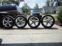 23 INCH BAZO B-4 CHROME RIMS AND TIRES 305-40-23 NITTO