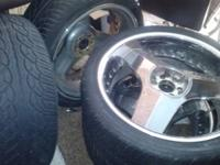 """4 23"""" blade rims (6-holes, came off Chevy) with 3 good"""