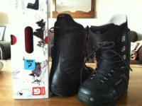 M3 snowboard with black Burton freestyle bindings. I