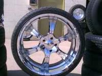 "5 lug 24"" chrome rims with tires asking $1400 obo"