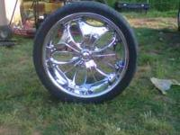 "24"" Chrome D'Vinci Pashas (all 4 rims and tires) for"