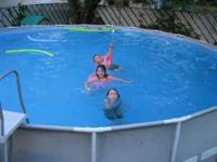 24 foot round swimming pool. It's one that we bought