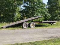 Older 16' tilt deck, 8' fixed deck trailer, tail and