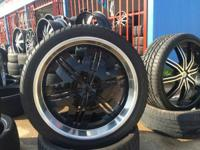 24 inch rims and tires $1200 or Best offer black with