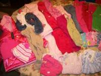 24 mos. baby girl clothes, diaper box full, some pieces