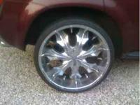 "24"" chrome rims, universal fit. 5 x 4.5 and not sure of"