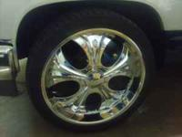 "I HAVE SOME CLEAN 24"" WHEELS RIMS AND SPINNERS WITH"