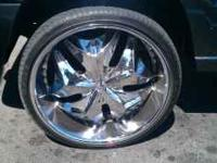 Iv got a set of 24 inch greed rims and tires for trade.