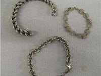 3 Sterling Silver and Silver Plate Bracelets. 1