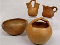 Taos, NM Set of 4 Micaceous Pottery. Bowl is 2.75''H x