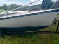 25 foot fiberglass sail boat great condition. Has sail,