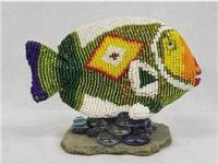 Hand Beaded Fish on Stand - Kills Thunder. You don't