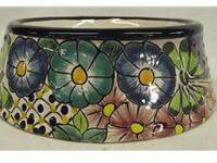 Mexican Talavera Dog Bowl. 3''H x 10'' diameter base.