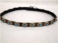 Navajo Turquoise Concho Leather Hat Band. 23''L, 20