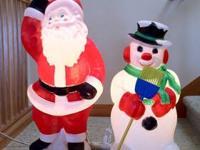 Retro Vintage Blowmold Santa Claus & Snowman Christmas
