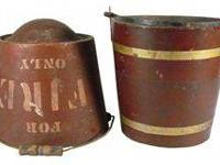 Two Composition Fire Buckets. Flat bottom bucket has