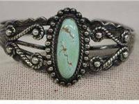 Vintage Fred Harvey Silver Turquoise Bracelet. Lots of