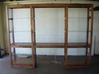 Wood unit with 6 glass shelves and 5 wood shelves. 3