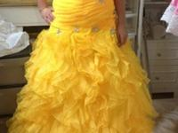 Gorgeous yellow prom dress from the Wedding Shoppe for