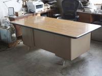An excellent vintage industrial 6-drawer Tanker Desk.