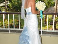Organza Gown with Print Waistband and 3D Flower Style