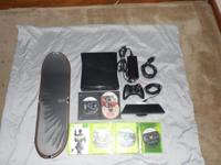 254 gb Xbox 360 slim w/ 6 games 1 controller ride board