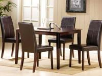 A Contemporary Espresso Finish Dining Table & 4 Chairs