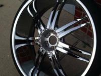 26 inch Bentchi rims with tires. 5 lug universal with