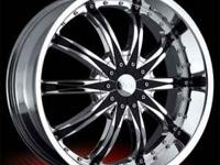 "26"" VCT Abruzzi Rims Chrome with Black Inserts Fits Six"