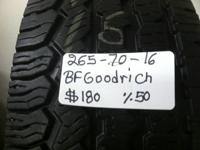 I HAVE SET OF 4 USED TIRES (265-70-16)BFGOODRICHAT THE