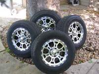 nice set of 4 tires & rims, with center caps, 5 on 5