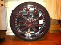 "26"" Redsport 33 rims and tires, 6 months old with 6,300"