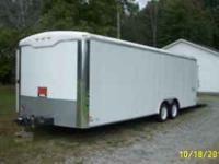 This white 27 foot haulmark car hauler , electric