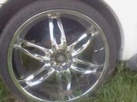 "26"" 5 lug universal rims with tires and locks. Tires"