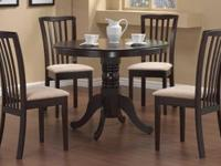Elegant pedestal style dining set for sale! The 5pc set