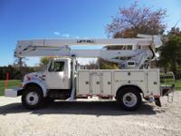 01 International 4900 55 ft 2 man bucket truck, 48,000