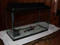 29 Gallon fish tank w/ heater, light, bubbler, air