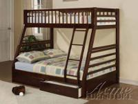 ITEM # AC-2020 Jason espresso finish Twin/Full Bunk Bed