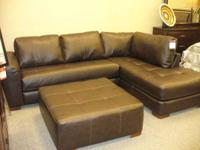 Includes: 3 Piece Leather Sectional (black or brown), 5