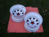 2 15x10 white spokes fits ford ranger/bronco/mustang