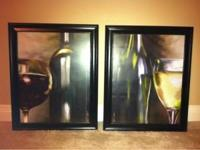 2 Framed Wine Glass and Bottle Pictures 1 Red Wine 1