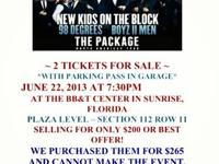 ********* 2 tickets PLUS PARKING for SATURDAY JUNE 22,