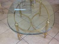 2 VINTAGE SOLID BRASS TABLES NOT MATCHING TABLES EACH